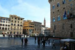 Piazza della signoria with cosimo i statue and neptuno fountain, florence, it Stock Photos