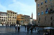 Stock Photo of piazza della signoria with cosimo i statue and neptuno fountain, florence, it