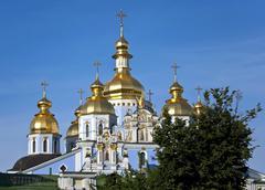 st. michael's golden-domed monastery in kiev, ukraine - stock photo