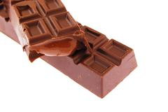 Chocolate bar on a white background Stock Photos