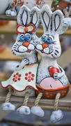 Two rabbits from the clay sculpture folk art Stock Photos