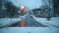 Driving in Snowstorm During Dusk Weather Stock Video Stock Footage