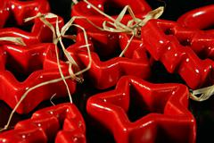 christmas red ceramics decorations - stock photo