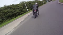 POV Driving Shot of Vintage Motorcycle Stock Footage