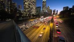 Motion Timelapse Los Angeles Traffic Day to Night Stock Footage