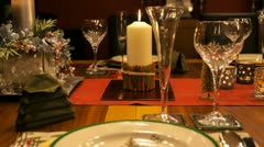 Christmas table finished CU track time lapse Stock Footage