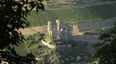 Ehrenfels Castle and vineyards near Ruedesheim am Rhein, Upper Middle Rhine Stock Footage
