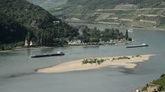 Ships on the Rhine near Assmannshausen, Upper Middle Rhine Valley, Germany Stock Footage