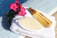 massage oil and spa spirit - stock photo