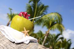 coconuts on the beach - stock photo