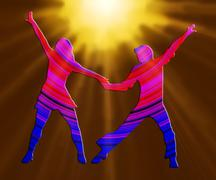 3d color and spotlight dancing couple 70s - stock illustration