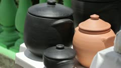 Artisan Work Manufacturation, Pots of clay in the sun Stock Footage