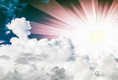 sun in the clouds - stock photo
