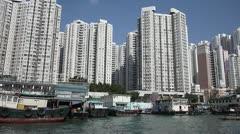 aberdeen hong kong apartments sampan fishing junk - stock footage