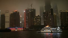 boat night shanghai nightscape cityscape skyscraper river - stock footage
