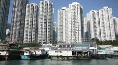 Fishing junk boat sampan apartment aberdeen hong kong Stock Footage