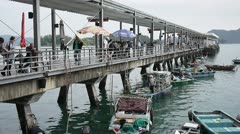 Seafood fish clam market Sai Kung Public Pier Stock Footage