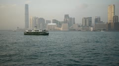 Star ferry moving across victoria harbour hong kong Stock Footage