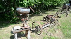 Walk retro old agriculture rusty tools collection rural museum Stock Footage