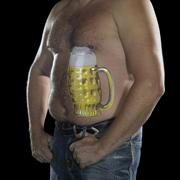 Man with painted beer belly Stock Photos