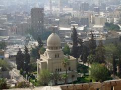 cairo aerial view in sunny ambiance - stock photo