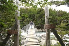 w trek on torres del paine park - stock photo