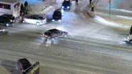 The flow of vehicles in the city. Road, winter Stock Footage