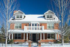 Luxury Home in Winter Stock Photos