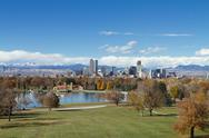 Stock Photo of Denver Skyline Wide Angle