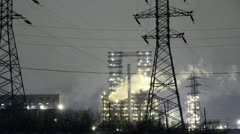 Stock Video Footage of Oil plant at night. oil refining