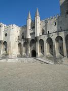 plaza of the  palace of the popes in avignon, france.. - stock photo