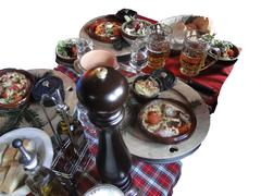hearty skiers savoyard lunch - stock photo