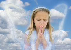 little girl angel praying - stock illustration