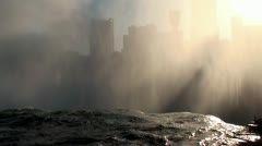 View of Canadian side of the border through the Niagara falls mist. Stock Footage