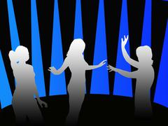 silhouettes of girls dancing in a disco - stock illustration