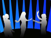 Stock Illustration of silhouettes of girls dancing in a disco