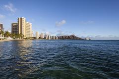 Waikiki beach honolulu hawaii afternoon Stock Photos