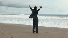 businessman on resort - stock footage