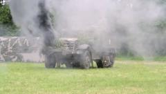 US Military Vehicle attacked during combat. Stock Footage