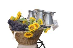 Stock Photo of sunflowers and pewter work for sale ..