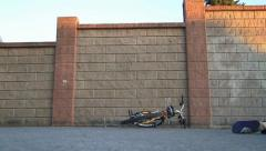 Biking into Wall - stock footage