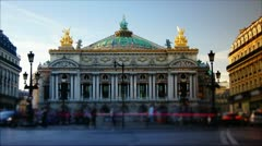 Rush hour in paris,view to the Opera Garnier Stock Footage