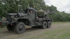 US Army Tow Truck / Support Vehicle Stock Footage