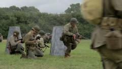 American troops fighting on the battlefield - stock footage