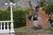 Jumping into Pool Stock Photos