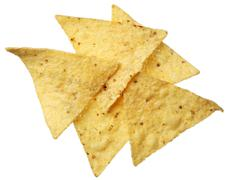 Tortilla chips isolated on white background Stock Photos