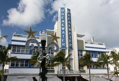 breakwater hotel in miami beach art deco - stock photo
