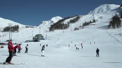 Sestriere Skiing 03 Stock Footage