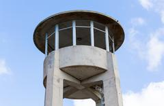concrete watch tower in everglades florida - stock photo