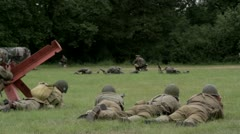 German and American soldiers fighting WW2 Stock Footage